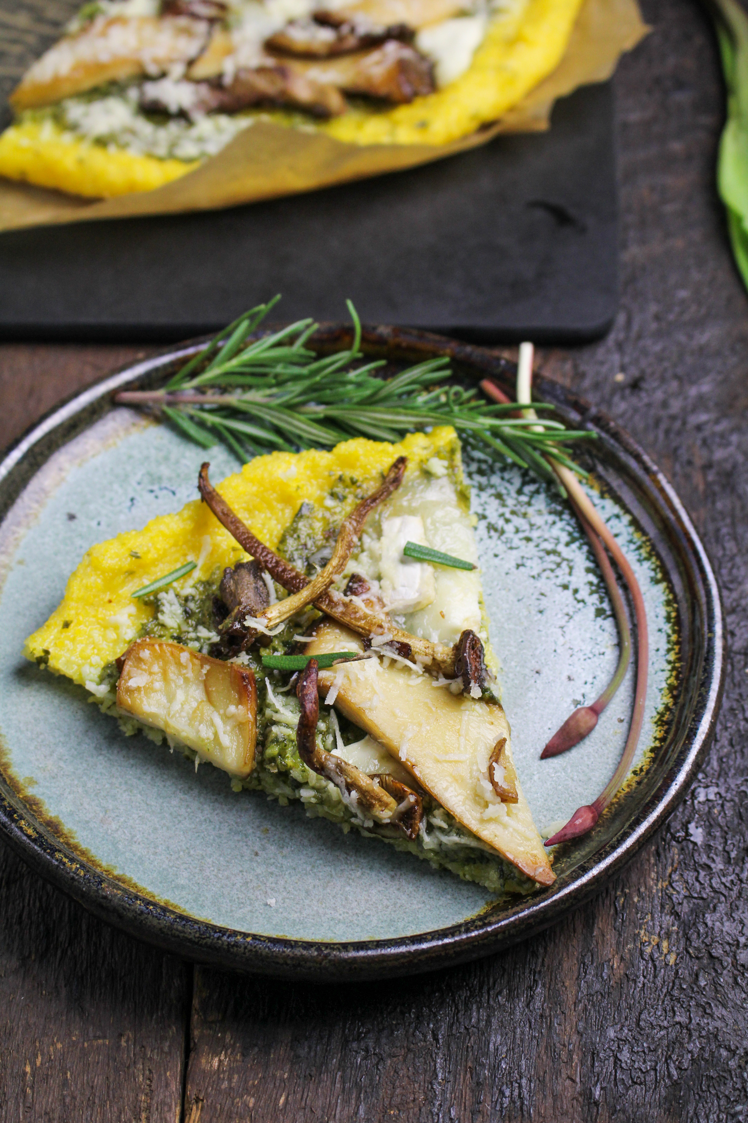 Polenta Pizza with Wild Mushrooms and Ramp Pesto {Katie at the Kitchen ...