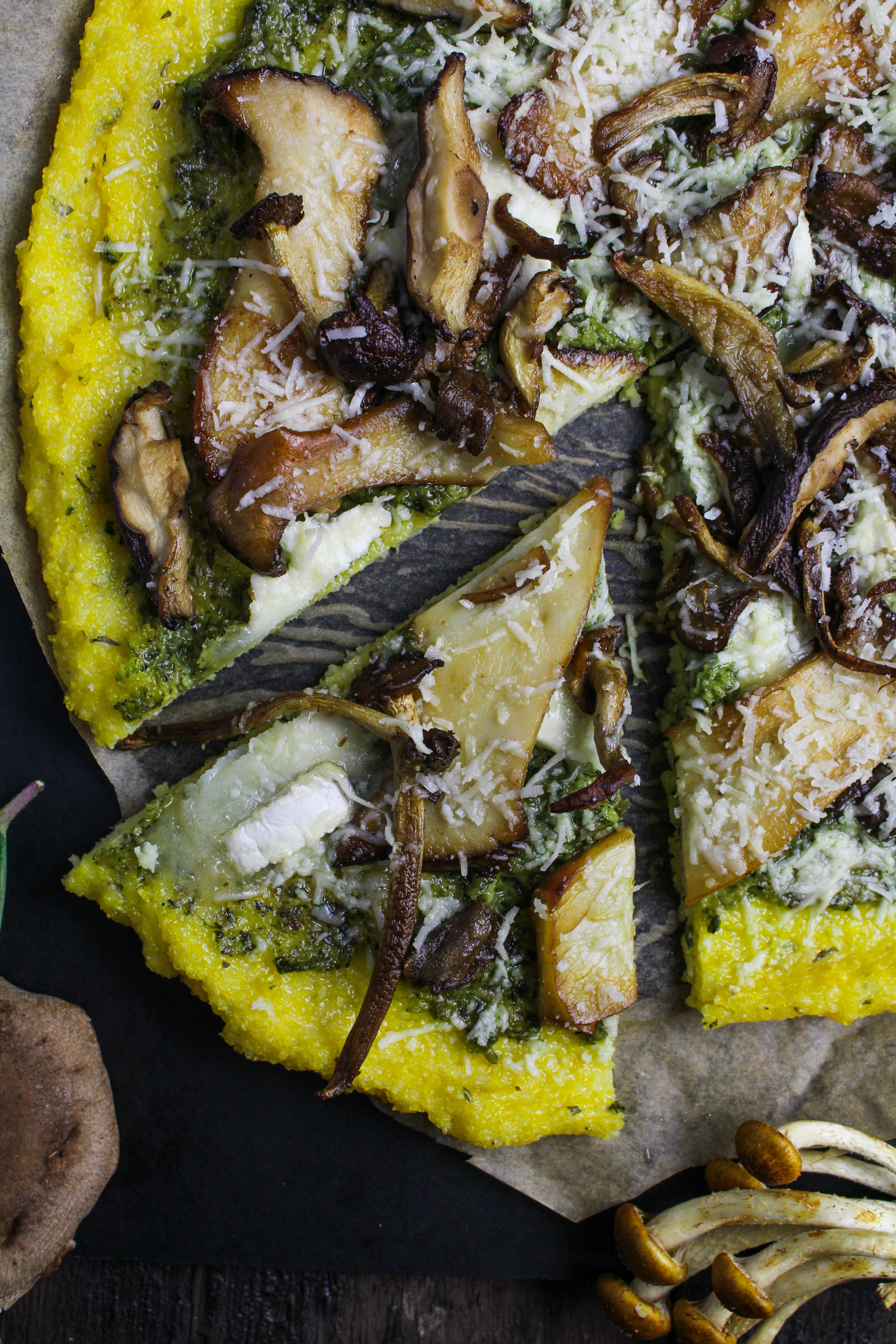 Polenta Pizza with Wild Mushrooms and Ramp Pesto {Katie at the Kitchen Door}