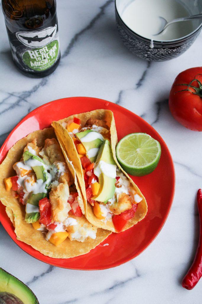 Fried Fish Tacos with Mango Salsa {Katie at the Kitchen Door}