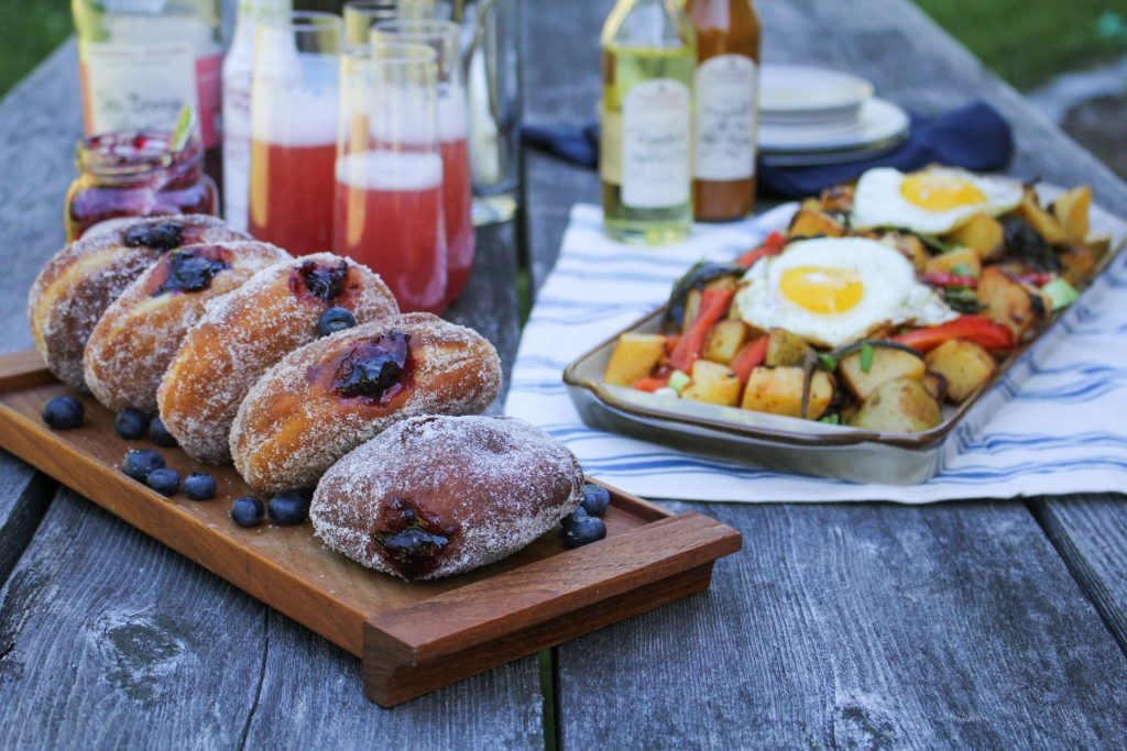 Stonewall Kitchen Maine Brunch: Blueberry Jam Doughnuts, Smoky Potato Hash, Sea Breeze Mimosas {Katie at the Kitchen Door} #ad