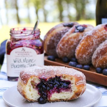 Wild Maine Blueberry Jam Doughnuts {Katie at the Kitchen Door} #ad