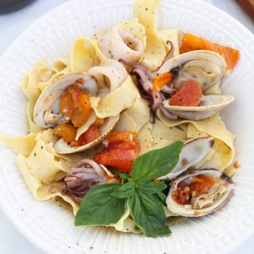 Seafood Pasta with Squid, Clams, and Tomatoes {Katie at the Kitchen Door}