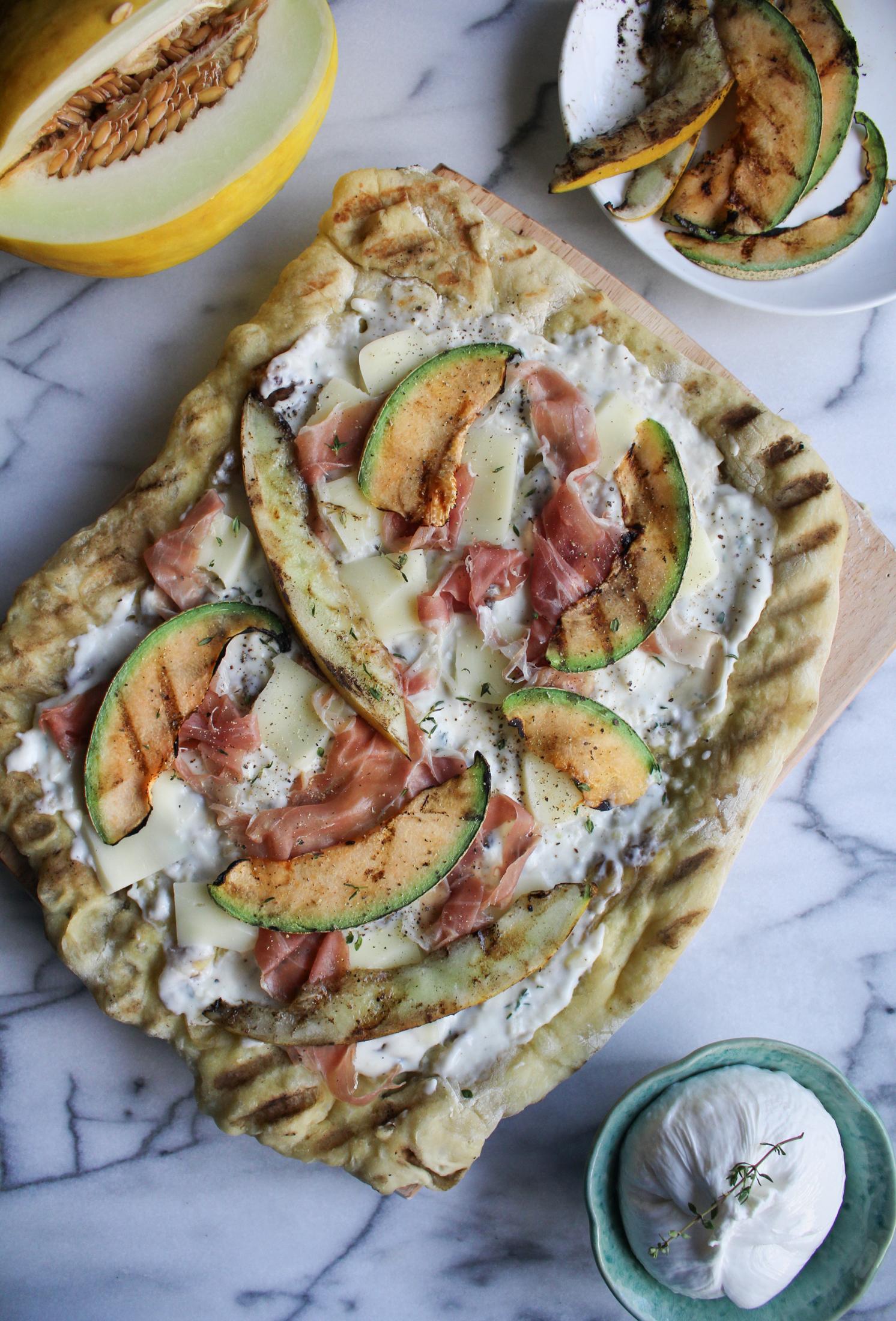Grilled Melon, Prosciutto, and Burrata Pizza
