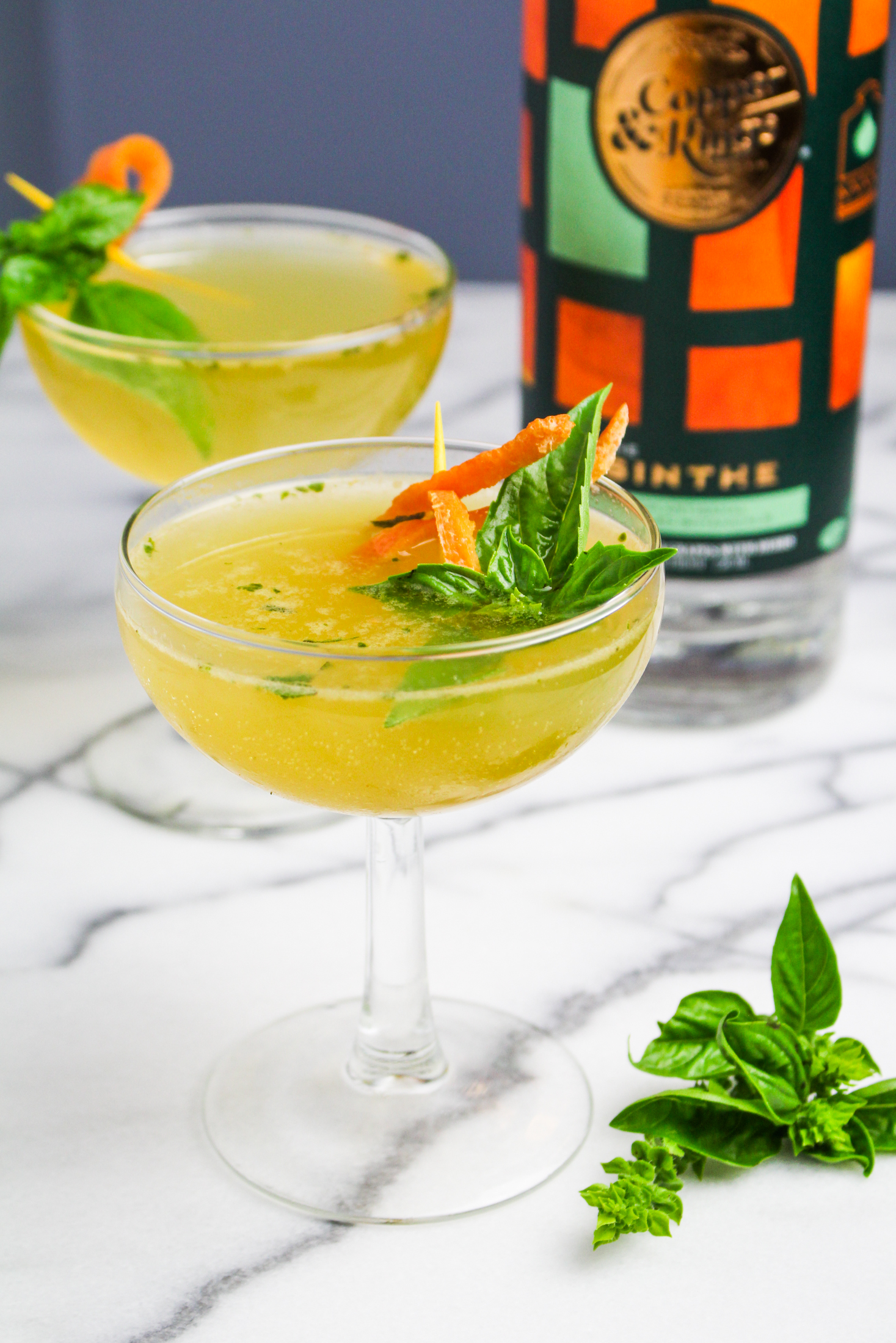 Green Derby Cocktail – Absinthe, Bourbon, Basil, and Grapefruit