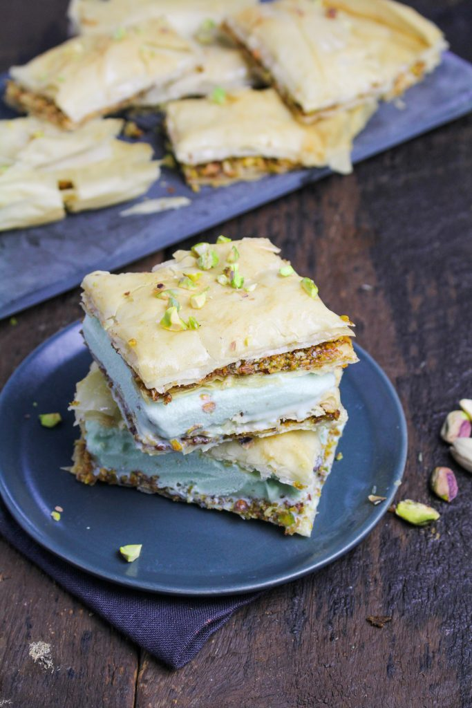 Baklava Ice Cream Sandwiches with Pistachio Gelato {Katie at the Kitchen Door}