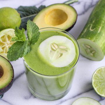 Cucumber-Lime-Avocado Smoothie {Katie at the Kitchen Door}
