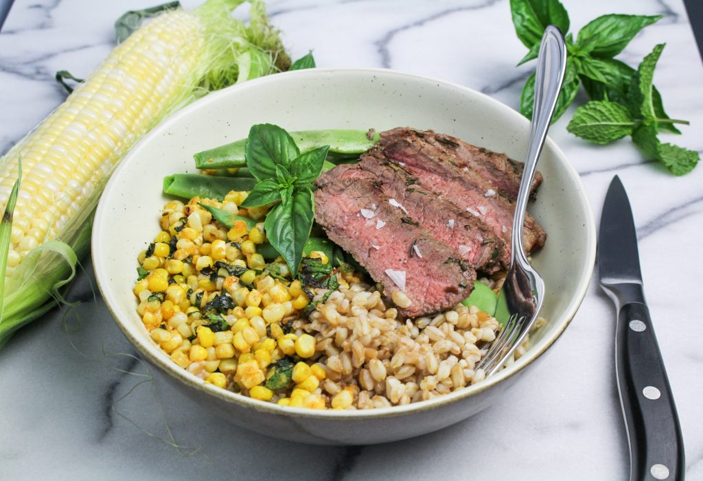 Steak and Elote Corn Bowl {Katie at the Kitchen Door]