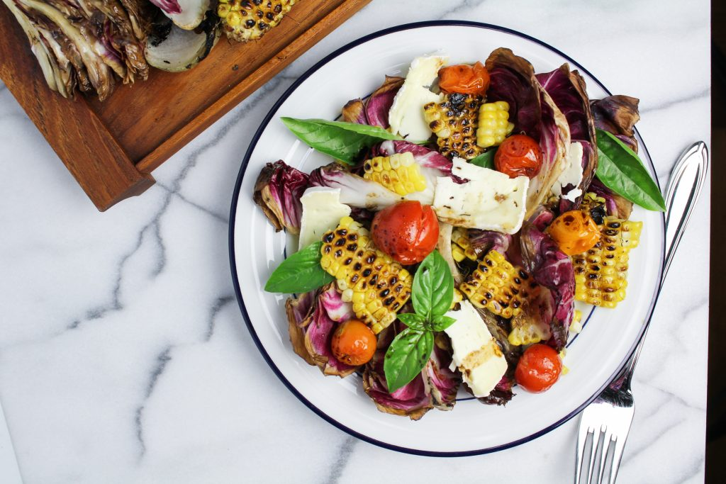Grilled Corn, Radicchio, and Roasted Tomato Salad