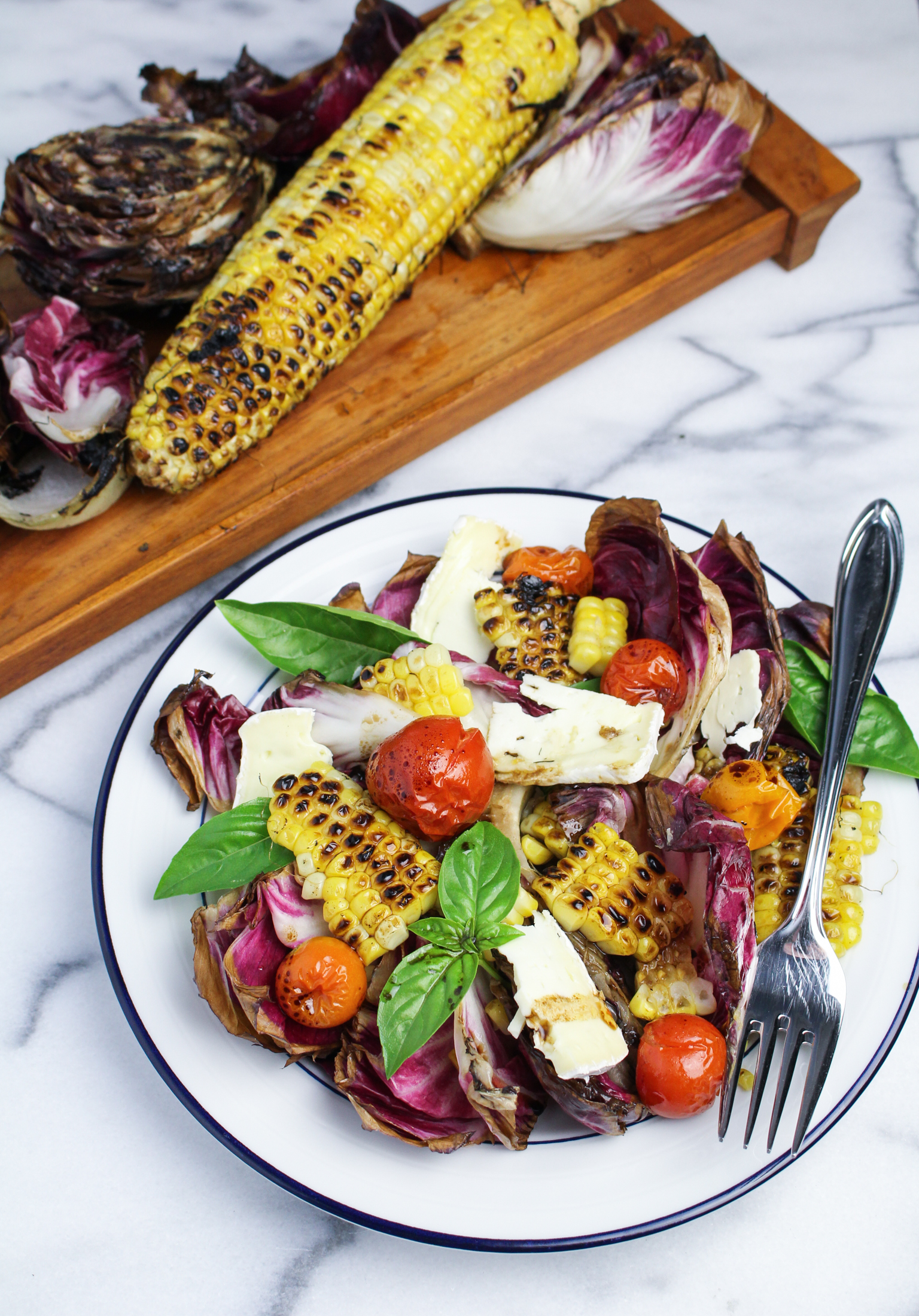 Grilled Radicchio, Corn, and Roasted Tomato Salad | Katie at the ...