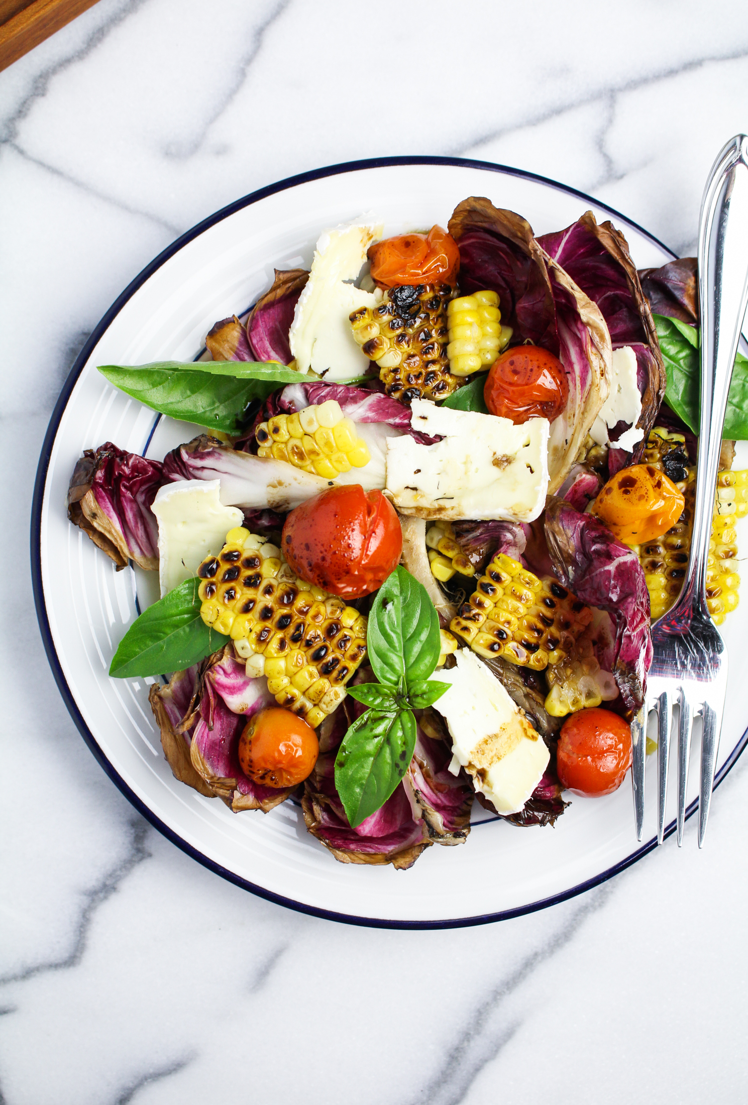 Grilled Radicchio, Corn, and Roasted Tomato Salad