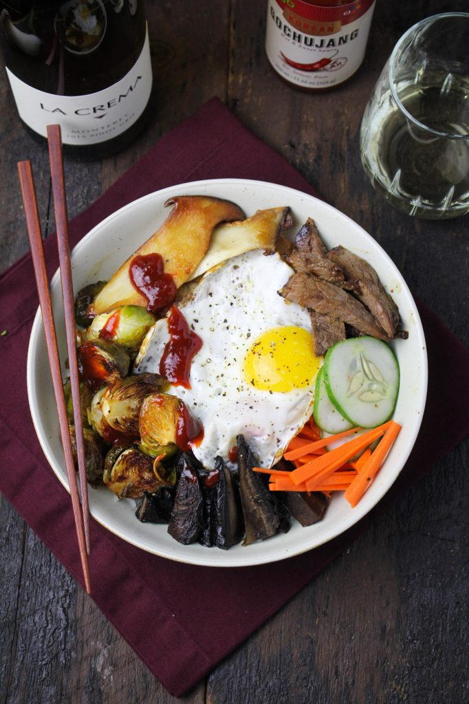 Autumn Bibimbap with Gochujang-Roasted Brussels Sprouts and Tamari Portobellos {Katie at the Kitchen Door}