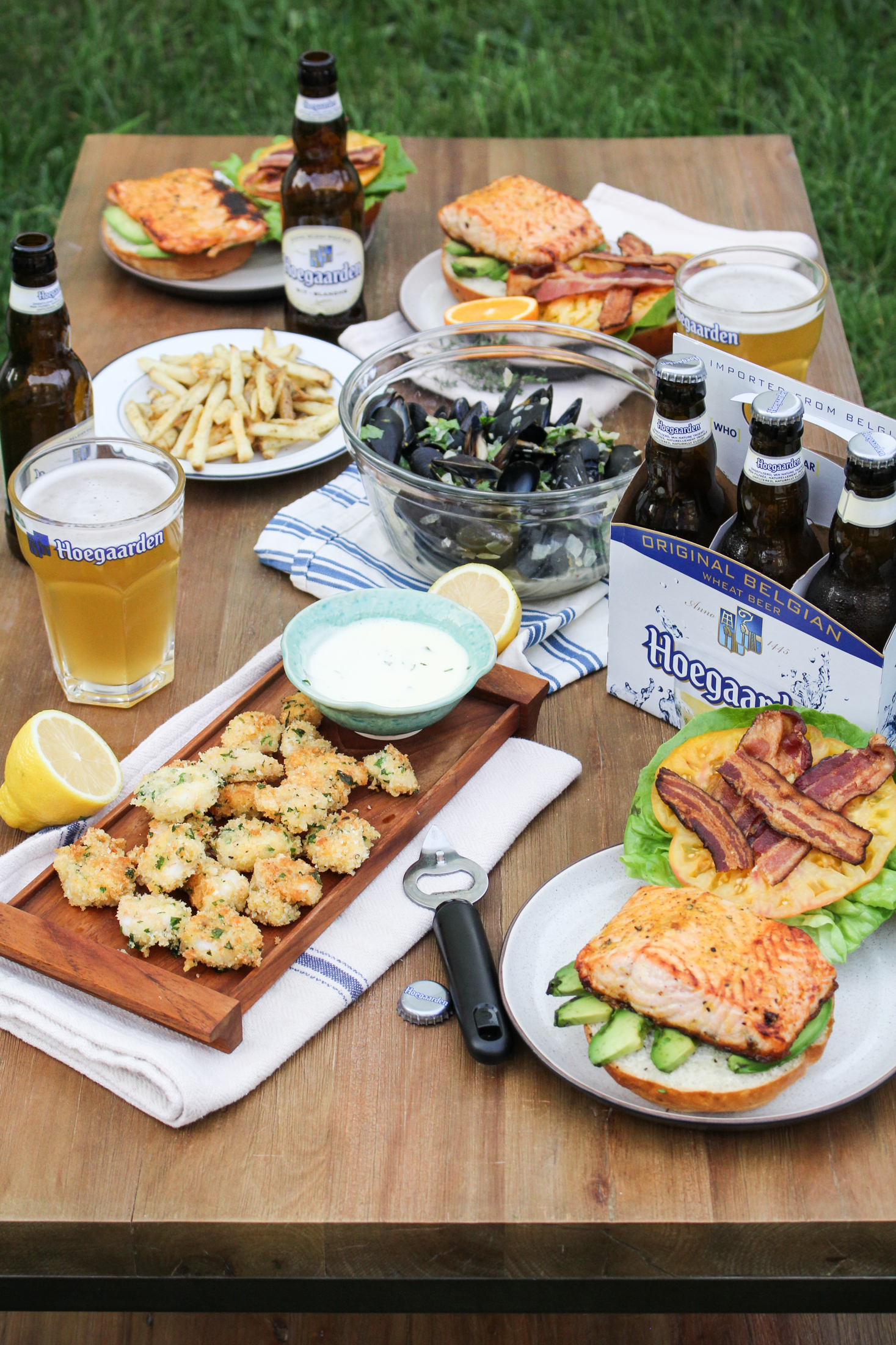 Hoegaarden Seafood Dinner: Popcorn Shrimp, Ale-Steamed Mussels, and Salmon B.L.A.T.s