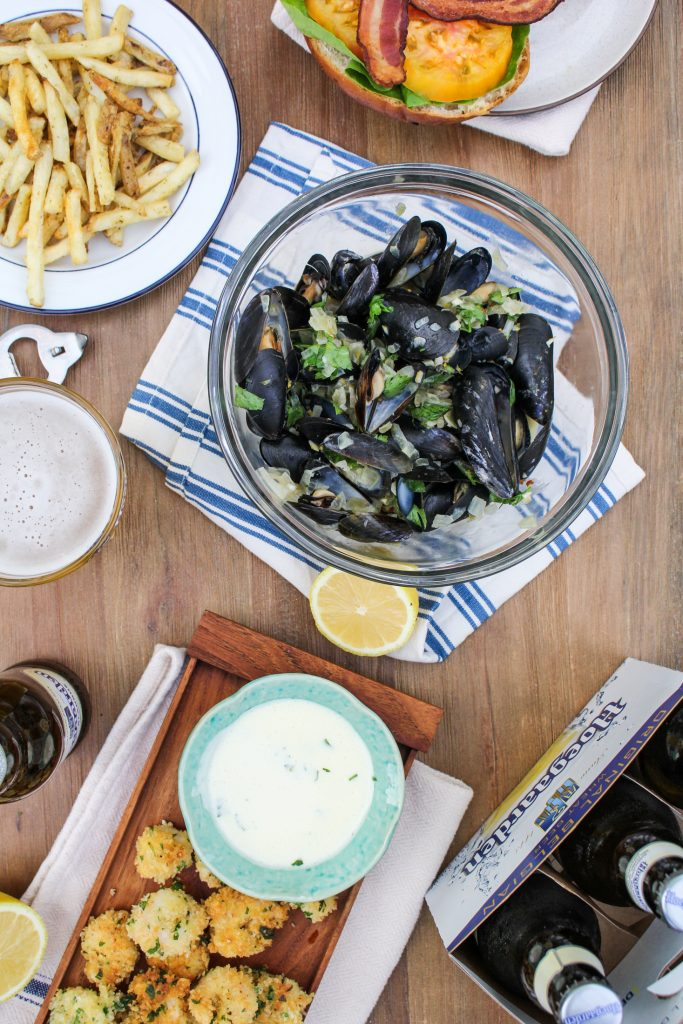 Ale-Steamed Mussels with Creme Fraiche {Katie at the Kitchen Door} #itsWHOgaarden #sponsored