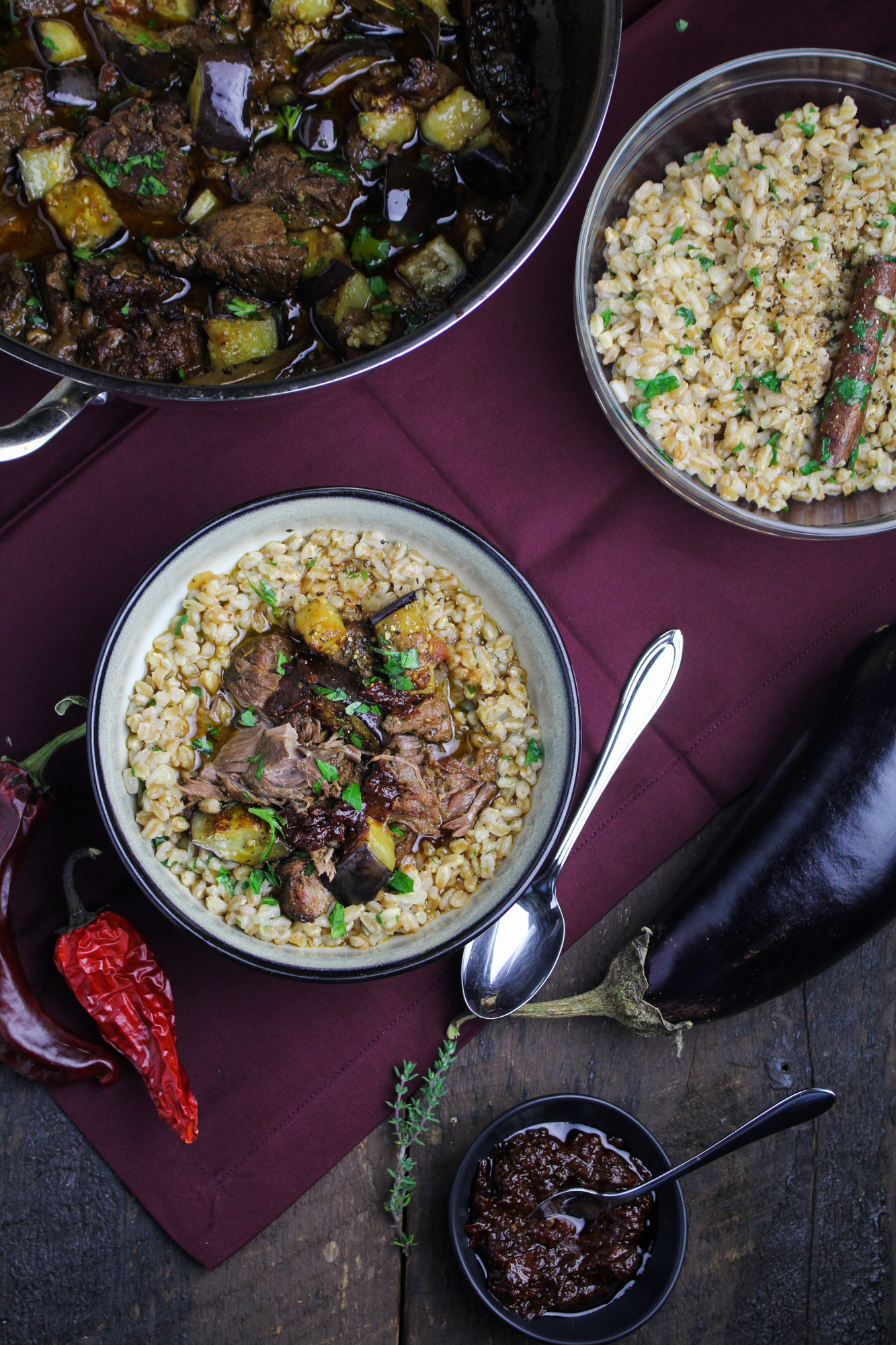 Tunisian Lamb-and-Eggplant Stew with Farro, Parsley, & Harissa