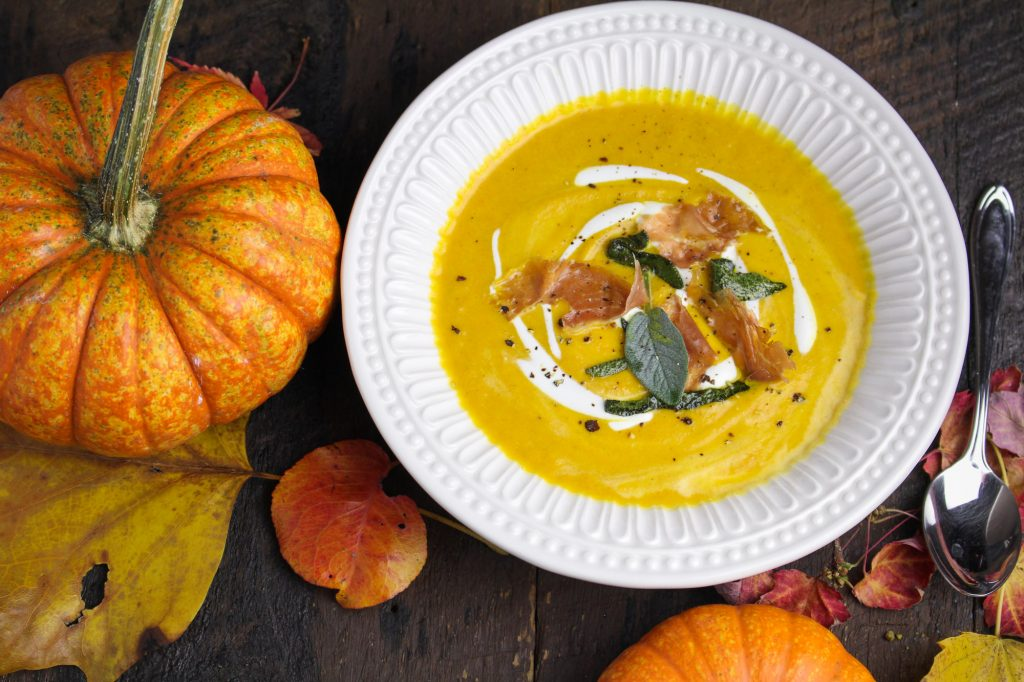 Curried Pumpkin Bisque with Prosciutto and Sage {Katie at the Kitchen Door}