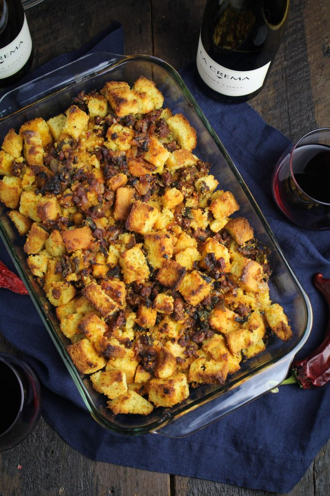 Cornbread, Chorizo, and Poblano Stuffing {Katie at the Kitchen Door}