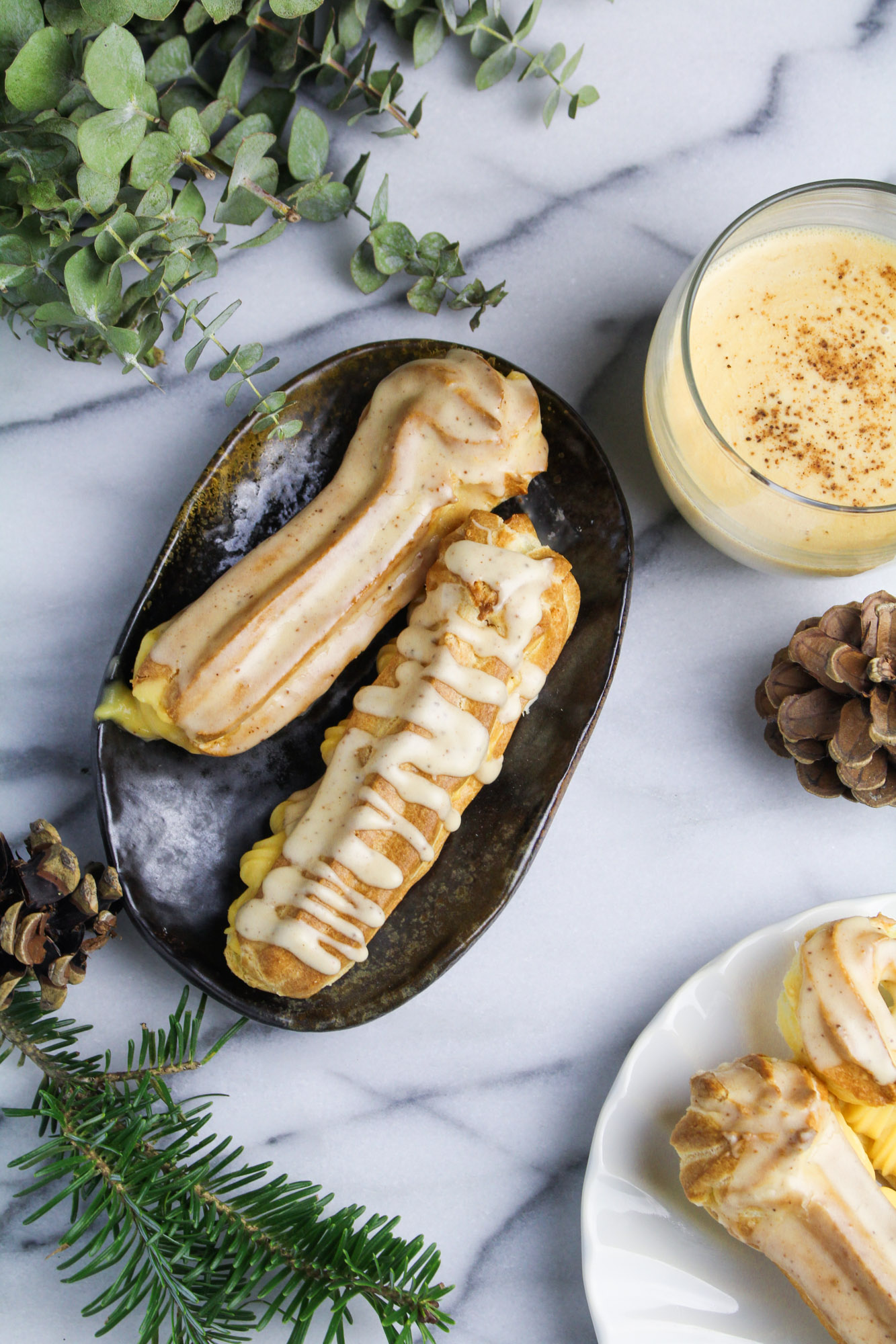 Spiked Eggnog Eclairs with Nutmeg Glaze