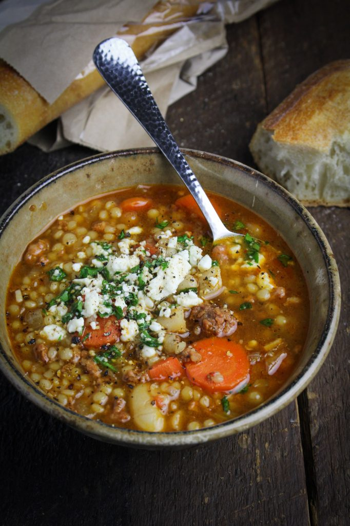 Spicy Chorizo Soup with Israeli Couscous and Mole Sauce {Katie at the Kitchen Door}