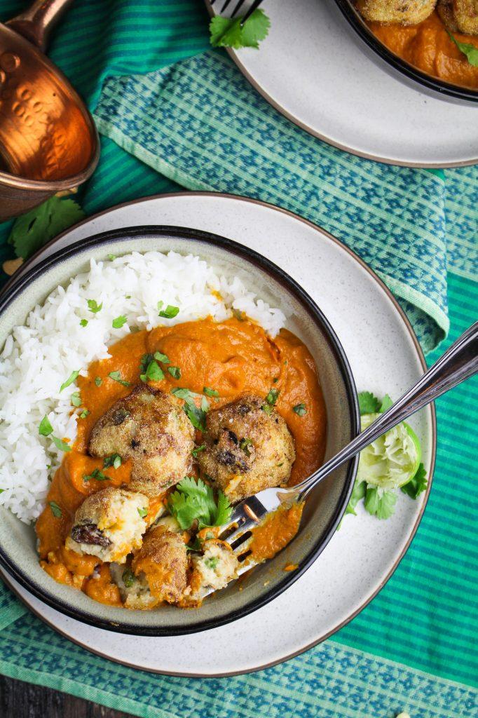 Malai Kofta - Vegetarian Potato-Paneer Balls in Tomato Cream Curry {Katie at the Kitchen Door}