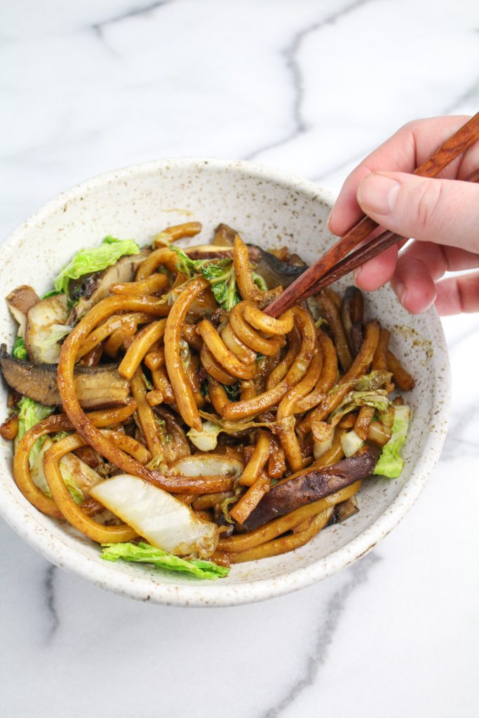 Shanghai Noodles with Mushrooms and Cabbages {Katie at the Kitchen Door}
