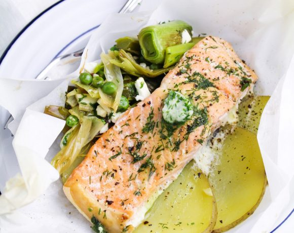 Salmon en Papillote with Dill Butter