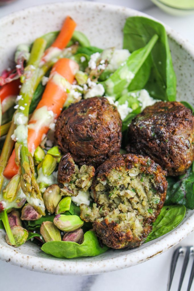Spring Falafel Salad - with Carrot and Asparagus Pickles, Feta Cheese, Pistachios, and Herb Aioli {Katie at the Kitchen Door}