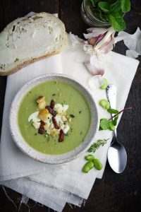 Fava Bean Soup with Mascarpone, Mint, and Pancetta {Katie at the Kitchen Door}