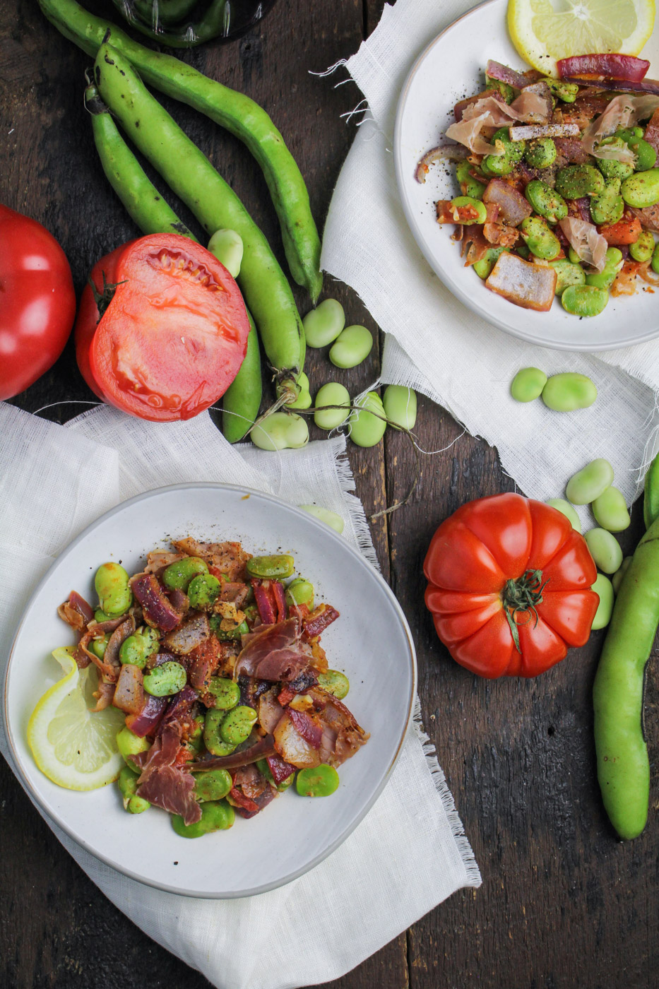 Spanish Fava Bean Salad with Tomatoes and Prosciutto {Katie at the Kitchen Door}