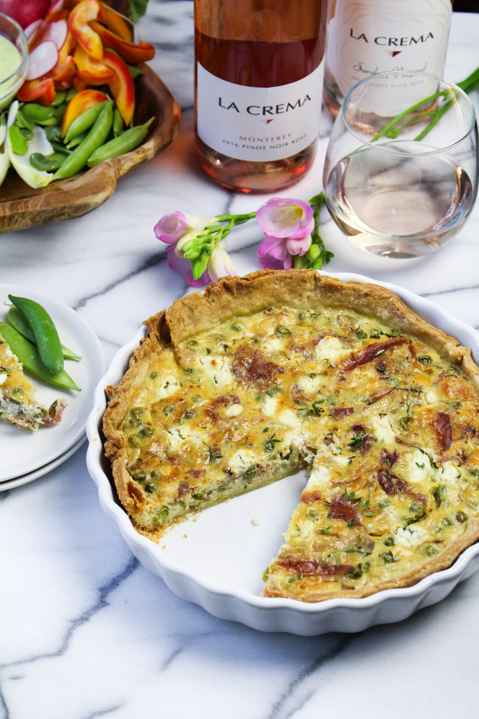 French Spring Dinner Menu - Goat Cheese Tart with Peas and Prosciutto {Katie at the Kitchen Door}