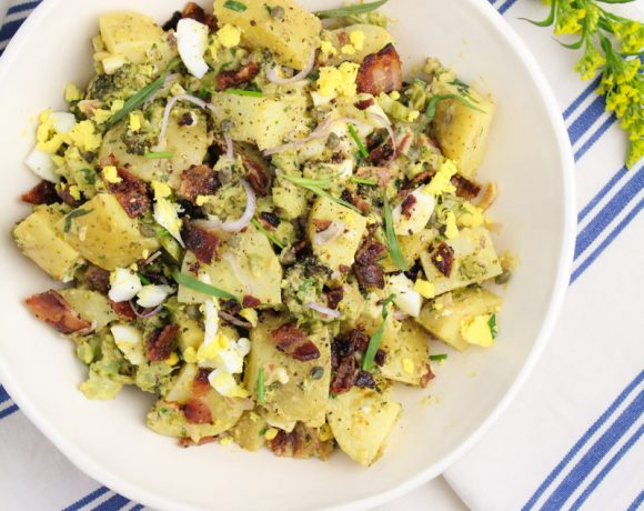 Potato Salad with Bacon, Broccoli, Egg and Mustard Dressing