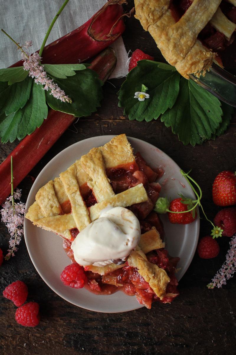 Strawberry-Rhubarb-Raspberry Pie {Katie at the Kitchen Door}