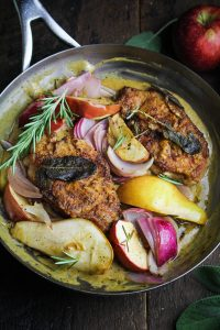 Pan-Fried Pork Chops with Roasted Apples and Pears {Katie at the Kitchen Door}