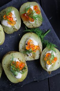Russian New Year's Eve Menu - Potato Bites with Caviar