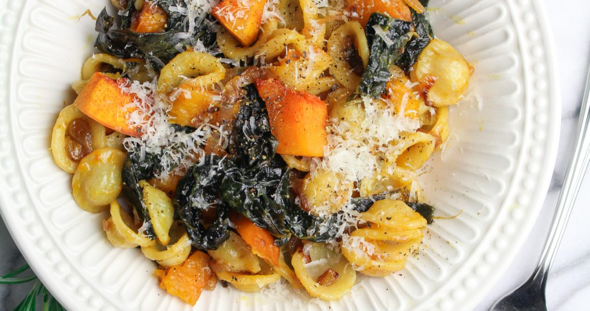 2017 – A Year in Review // Winter Pasta with Slow-Cooked Kale, Kabocha Squash, and Golden Raisins