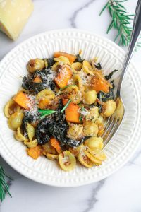 Winter Pasta with Slow-Cooked Kale, Kabocha Squash, and Golden Raisins