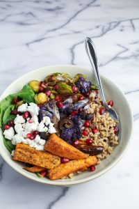 Middle-Eastern Grain Bowl with Sweet Potatoes and Cauliflower {Katie at the Kitchen Door}